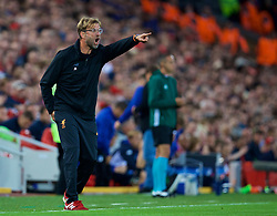 LIVERPOOL, ENGLAND - Wednesday, August 23, 2017: Liverpool's manager Jürgen Klopp reacts after TSG 1899 Hoffenheim's first goal during the UEFA Champions League Play-Off 2nd Leg match between Liverpool and TSG 1899 Hoffenheim at Anfield. (Pic by David Rawcliffe/Propaganda)