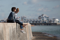 © Licensed to London News Pictures. 02/10/2016. Southsea, Hampshire, UK.  People out and about enjoying the warm, sunny weather on another stunning autumn day. Photo credit: Rob Arnold/LNP