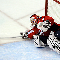 28 April 2009:  Washington Capitals goalie Simeon Varlamov (40) makes a save on a shot by the New York Rangers in the 1st period in the seventh game of the Eastern Conference NHL quarterfinal playoff game at the Verizon Center in Washington, D.C.  The Washington Capitals defeated the New York Rangers 2-1 in the Eastern Conference NHL quaterfinal playoff to advance to the second round of the playoffs.