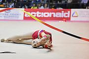 Mariya Mateva, atleta di origini bulgare, in forza all'Arcobaleno Prato durante il campionato Italiano di Ginnastica Ritmica.<br /> Mariya si è esibita al nastro durante la tappa di Serie A1 di Desio il 01-11-2014.