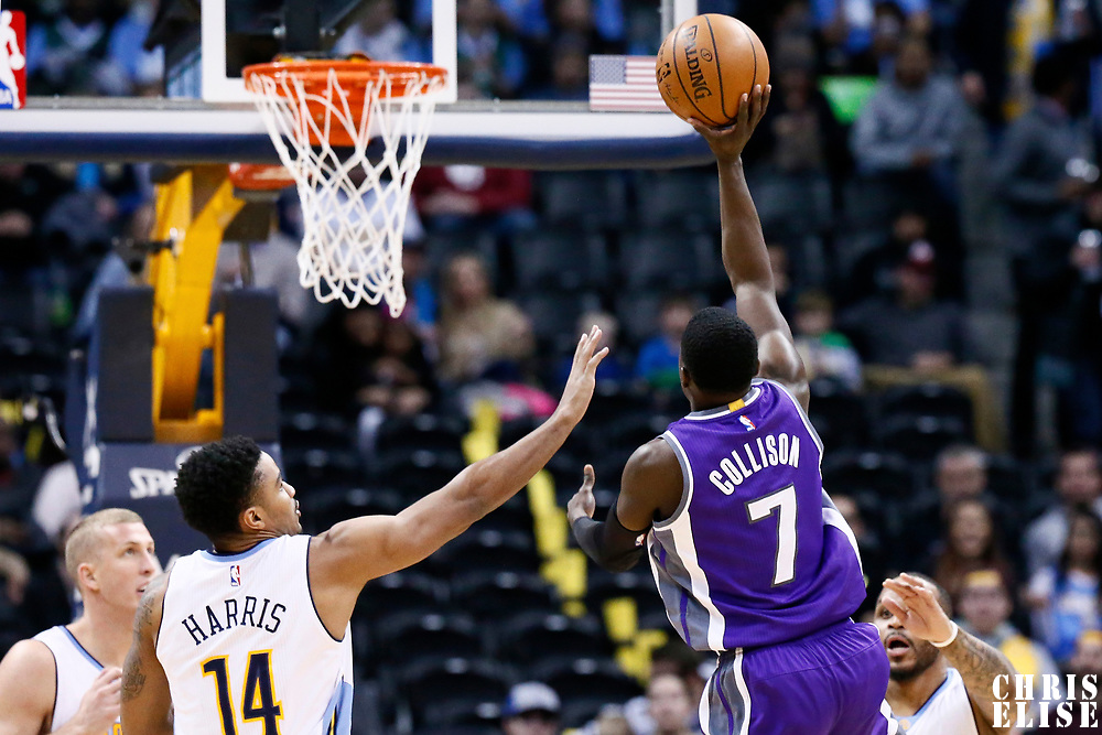 06 March 2017: Sacramento Kings guard Darren Collison (7) goes for the jump shot over Denver Nuggets guard Gary Harris (14) during the Denver Nuggets 108-96 victory over the Sacramento Kings, at the Pepsi Center, Denver, Colorado, USA.
