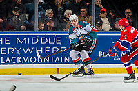 KELOWNA, CANADA - FEBRUARY 6:  Kaedan Korczak #6 of the Kelowna Rockets passes the puck against the Spokane Chiefs on February 6, 2019 at Prospera Place in Kelowna, British Columbia, Canada.  (Photo by Marissa Baecker/Shoot the Breeze)