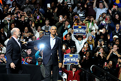 Philadelphia, PA, USA - November 2, 2014: U.S. President Barrack Obama headlines the Grassroots event in support of Pennsylvania Gubernatorial Democratic candidate Tom Wolf, two days ahead of Election Day. (Photo by Bas Slabbers)<br /> <br /> U.S. President Barrack Obama headlines the Grassroots event in support of PA Gubernatorial Democratic candidate Tom Wolf. Wolf is running against Incumbent Governor of Pennsylvania Tom Corbett (R). The event is held at Liacouras Center at Temple University in North Philadelphia two days ahead of election day.