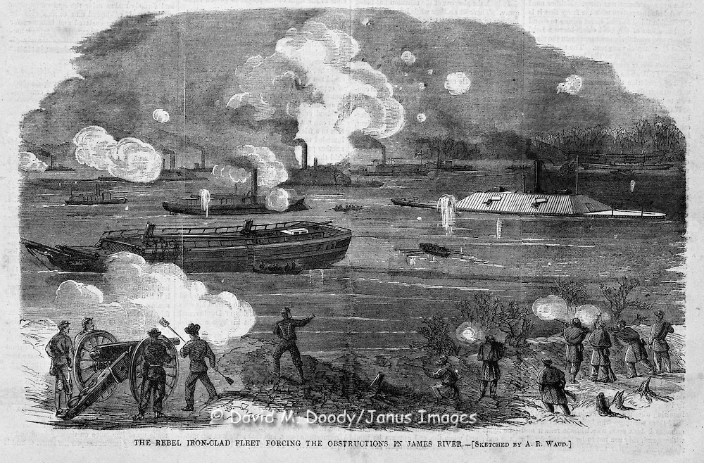 Rebel (Confederate) iron-clad fleet on the James River, Virginia Harper's Weekly, Saturday February 11, 1865