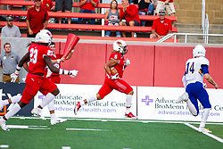 NORMAL, IL - September 07: Tuvone Clark runs the ball back to the end zone passing Mark Pappas who threw the interception which Clark caught during a college football game between the ISU (Illinois State University) Redbirds and the Morehead State Eagles on September 07 2019 at Hancock Stadium in Normal, IL. (Photo by Alan Look)