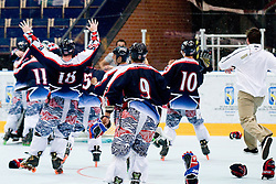 Team USA celebrate gold medal after scoring goal in overtime at IIHF In-Line Hockey World Championships Top Division Gold medal game between National teams of Czech Republic on July 4, 2010, in Karlstad, Sweden. (Photo by Matic Klansek Velej / Sportida)