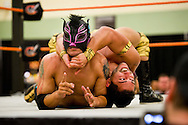 "Wrestler Chasyn Rance (right) holds Lince Dorado (Jose Cordero) during their ""Wrestlefest"" match for Championship Wrestling Entertainment on Friday, April 10, 2015, at the Port St. Lucie Civic Center. (XAVIER MASCAREÑAS/TREASURE COAST NEWSPAPERS)"