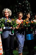 Première toneelstuk Annie M.G. op Soestdijk in Stadsschouwburg Utrecht. Met Annie M.G. op Soestdijk, een tragikomedie over liefde, trouw en ontrouw, geven ze een blik achter de schermen van Paleis Soestdijk eind jaren vijftig. <br /> <br /> Op de foto:  Annet Malherbe
