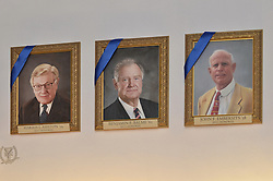 Blue Leaders Ashton, Balme & Embersits Portraits, Yale University Athletics. George H.W. Bush Lifetime of Leadership Award Honoree Paintings in the Kiphuth Trophy Room, Payne Whitney Gymnasium.