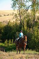 Trail Riding, young girl, Quarter Horse, Montana