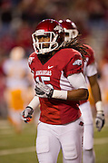 Nov 12, 2011; Fayetteville, AR, USA;  Arkansas Razorbacks  wide receiver Keante Minor (15) runs off the field during a game against the Tennessee Volunteers at Donald W. Reynolds Razorback Stadium. Arkansas defeated Tennessee 49-7. Mandatory Credit: Beth Hall-US PRESSWIRE
