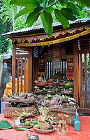 Sacred altar with ritual offerings in East Bali, Indonesia