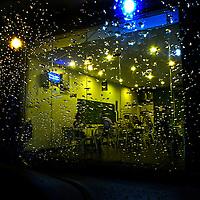 View of a restaurant from a car dyring rain, Cyberjaya, Malaysia