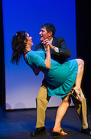 "Tamara McGonagle and Rodney Martell as Arlene and Alan kick up their heels on stage during dress rehearsal for ""Baby"" the musical at the Winnipesaukee Playhouse Monday evening.  (Karen Bobotas/for the Laconia Daily Sun)"