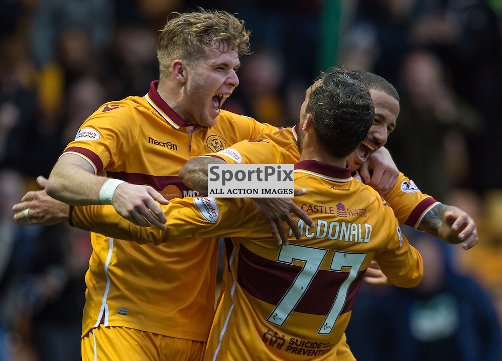 Lionel Ainsworth celebrates with Scott McDonald and Chris Cadden during the match between Motherwell and Ross County (c) ROSS EAGLESHAM | Sportpix.co.uk