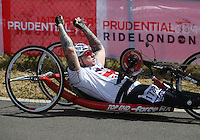 LONDON UK 29TH JULY 2016:  Jonathan Waters (GBR). Prudential RideLondon Handcycle Grand Prix at the London Velo Park. Prudential RideLondon in London 29th July 2016<br /> <br /> Photo: Jed Leicester/Silverhub for Prudential RideLondon<br /> <br /> Prudential RideLondon is the world&rsquo;s greatest festival of cycling, involving 95,000+ cyclists &ndash; from Olympic champions to a free family fun ride - riding in events over closed roads in London and Surrey over the weekend of 29th to 31st July 2016. <br /> <br /> See www.PrudentialRideLondon.co.uk for more.<br /> <br /> For further information: media@londonmarathonevents.co.uk