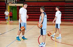 Gasper Vidmar, Jaka Lakovic and Luka Lapornik during training camp of Slovenian National basketball team for Eurobasket 2013 on July 19, 2013 in Sports hall Rogatec, Slovenia. (Photo by Vid Ponikvar / Sportida.com)