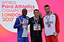 19/07/2017 : Jason Smyth (IRL), Gold Medal, Johannes Nambala (NAM), Silver Medal, Mateusz Michalski (POL), Bronze Medal, T13, Men's 200m, at the 2017 World Para Athletics Championships, Olympic Stadium, London, United Kingdom