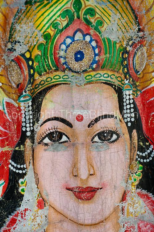 Painted screen at small Hindu Kvil/shrine at Thirukovil. East Coast.