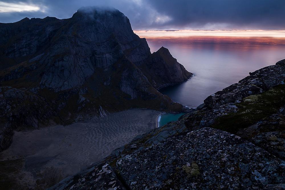 Bunes Beach at dusk from Helvetestinden, Moskenesoya, Lofoten Islands, Norway.