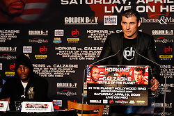 February 19, 2008; Newark, NJ, USA;  Ring Magazine Super Middleweight Champion Joe Calzaghe (r) speaks at the press conference announcing his April 19, 2008 fight against Ring Magazine Light Heavyweight Champion Bernard Hopkins (l).  The two will meet for Hopkins title at the Thomas & Mack Center in Las Vegas, NV.