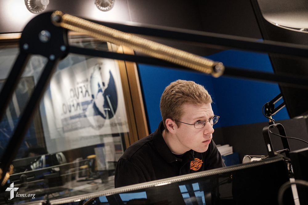 Young Adult Corps participant Raymond Shaver (left) works at KFUO Radio on Thursday, April 19, 2018, at the radio station in the International Center of The Lutheran Church–Missouri Synod in St. Louis. LCMS Communications/Erik M. Lunsford