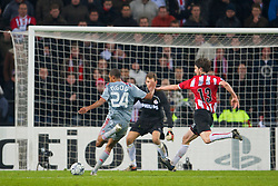 EINDHOVEN, THE NETHERLANDS - Tuesday, December 9, 2008: Liverpool's David Ngog scores the third goal post PSV Eindhoven's goalkeepr Andreas Isaksson during the final UEFA Champions League Group D match at the Philips Stadium. (Photo by David Rawcliffe/Propaganda)