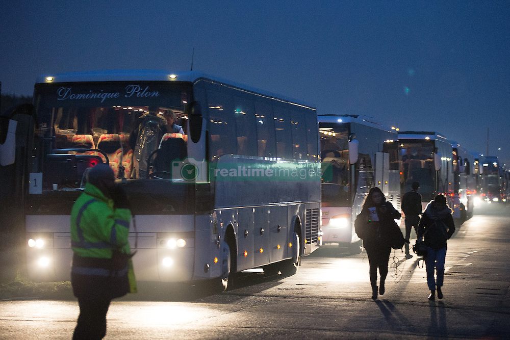 October 24, 2016 - Calais, Calais, France - Calais , France . Buses queued up to evacuate thousands of migrants from the Jungle migrant camp in Calais , Northern France , on the day of a planned eviction and start of the destruction of the camp  (Credit Image: © Joel Goodman/London News Pictures via ZUMA Wire)