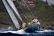 Wild Horses sailing in the Antigua Classic Yacht Regatta, Windward Race.