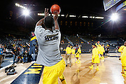 ANN ARBOR, MI - FEBRUARY 5: Tim Hardaway Jr. #10 of the Michigan Wolverines warms up before the game against the Ohio State Buckeyes at Crisler Center in Ann Arbor, Michigan on February 5. Michigan won 76-74. (Photo by Joe Robbins)