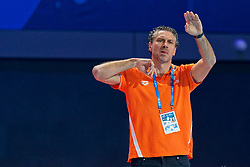 21-01-2020 HUN: European Water polo Championship, Budapest <br /> Slovakia - Netherlands 2—32 / Coach Arno Havenga of the Netherlands waterpolo during LEN European Aquatics Waterpolo on January 21, 2020. SVK vs Netherlands in Duna Arena in Budapest, Hungary
