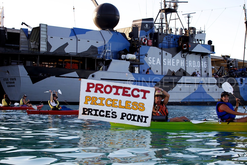 Anti-gas kayakers support Sea Shepherd's 'Steve Irwin'.<br />