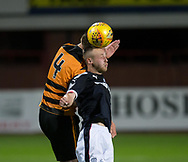 Dundee&rsquo;s Matty Hanvey and Alloa Athletic's Andy Graham battle in the air  - Dundee under 20s v Alloa Athletic in the Irn Bru Cup Round 1 at Dens Park, Dundee - photograph by David Young<br /> <br />  - &copy; David Young - www.davidyoungphoto.co.uk - email: davidyoungphoto@gmail.com