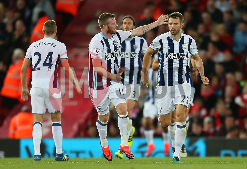 Gareth McAuley of West Bromwich Albioncelebrates after scoring his sides first goal  - Mandatory by-line: Matt McNulty/JMP - 22/10/2016 - FOOTBALL - Anfield - Liverpool, England - Liverpool v West Bromwich Albion - Premier League
