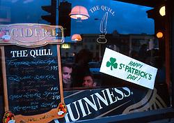 IRELAND DUBLIN MAR00 - A scene through a pub window on St. Patrick's Day in Dublin...jre/Photo by Jiri Rezac..© Jiri Rezac 2000..Contact: +44 (0) 7050 110 417.Mobile:  +44 (0) 7801 337 683.Office:  +44 (0) 20 8968 9635..Email:   jiri@jirirezac.com.Web:     www.jirirezac.com..© All images Jiri Rezac 2000 - All rights reserved.
