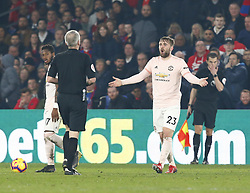 February 27, 2019 - London, England, United Kingdom - Manchester United's Luke Shaw not happy with Referee.during English Premier League between Crystal Palace and Manchester  United at Selhurst Park stadium , London, England on 27 Feb 2019. (Credit Image: © Action Foto Sport/NurPhoto via ZUMA Press)