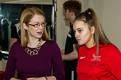 Pictured: Shirley-Anne Somerville spoke to Aimee Dilworth (17) on her tour<br /> <br /> Further and Higher Education Minister Shirley-Anne Somerville visited Edinburgh College's Granton campus to view the sport facilities and to announce a new GBP465,000 investment fund for the student sport sector.<br /> <br /> Ger Harley | EEm 8 February 2018