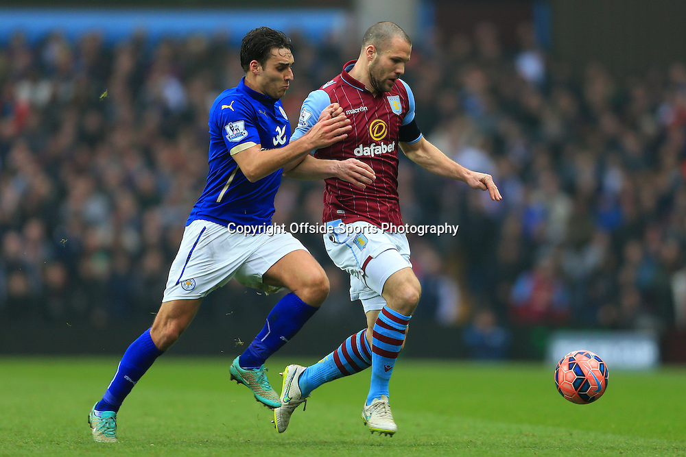 15th February 2015 - FA Cup 5th Round - Aston Villa v Leicester City - Matthew James of Leicester battles with Ron Vlaar of Villa - Photo: Simon Stacpoole / Offside.