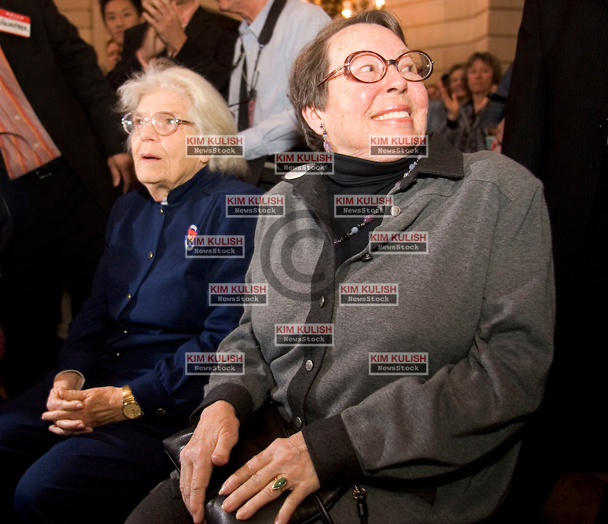 Del Martin and Phyllis Lyon, the first same-sex couple to marry last year,  received a standing ovation as they returned to City Hall on the first year anniversary of Gay Marriages in San Francisco, California, February 12, 2005. More than four thousand same-sex couples married last year before the California Supreme Court halted them. Photo By Kim Kulish