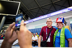 Peter Vilfan, former basketball player of Slovenia as commentator of Kanal A with fans of Slovenia prior to the Final basketball match between National Teams  Slovenia and Serbia at Day 18 of the FIBA EuroBasket 2017 at Sinan Erdem Dome in Istanbul, Turkey on September 17, 2017. Photo by Vid Ponikvar / Sportida