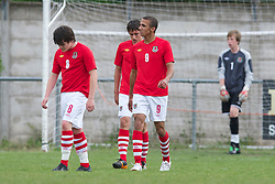 FLINT, WALES - Thursday, May 12, 2011: Wales' Deion Evans, Gethyn Hill look dejected as Sweden score the second goal during the Men's Under-17's International Friendly match at Cae-y-Castell. (Photo by David Rawcliffe/Propaganda)