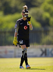 HAVERFORDWEST, WALES - Saturday, June 14, 2014: Turkey's masked goalkeeper Ezgi Caglar during the FIFA Women's World Cup Canada 2015 Qualifying Group 6 match against Wales at the Bridge Meadow Stadium. (Pic by David Rawcliffe/Propaganda)