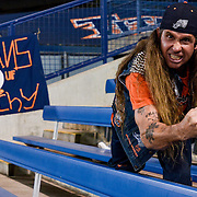 Cal State Fullerton super fan Keith Franklin gives a cheer during a winter league game between Cal State Fullerton and Cypress College. November 4th, 2016 — Cal State Fullerton vs Cypress College — Men's Baseball — Cal State Fullerton, Fullerton, CA