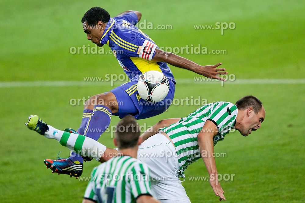 Marcos Tevares #9 of Maribor vs Aris Zarifovic #6 of Olimpija during football match between NK Olimpija and NK Maribor in 5th Round of Prva liga NZS 2012/13, on August 11, 2012 in SRC Stozice, Slovenia. (Photo by Matic Klansek Velej / Sportida.com)