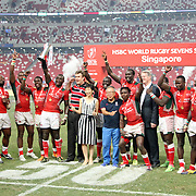 Kenya win the inaugural 2016  HSBC Singapore 7's Championship by defeating Fiji 30-7 at the Singapore 7's, day 2 finals, Singapore National Stadium, Singapore.  Photo by Barry Markowitz, 4/17/16