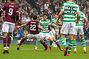 Ryan Edwards of Hearts & Michael Johnston go 50/50 during the William Hill Scottish Cup Final match between Heart of Midlothian and Celtic at Hampden Park, Glasgow, United Kingdom on 25 May 2019.