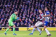 Mathew Ryan (GK) (Brighton) waits and saves the ball during the Premier League match between Brighton and Hove Albion and Aston Villa at the American Express Community Stadium, Brighton and Hove, England on 18 January 2020.