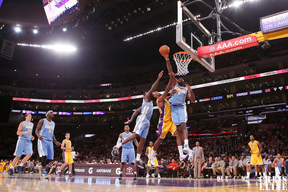 06 October 2013: Denver Nuggets small forward Kenneth Faried (35) rejects Los Angeles Lakers shooting guard Nick Young (0) layup during the Denver Nuggets 97-88 victory over the Los Angeles Lakers at the Staples Center, Los Angeles, California, USA.