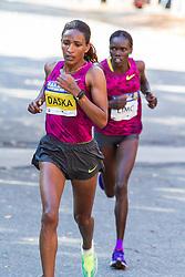 Boston Athletic Association Half Marathon, Mamitu Daska leads Cynthia Limo