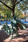 Bronze statue of author Edgar Allan Poe, a famous landmark in Boston, Massachusetts, USA